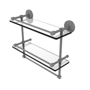 Prestige Skyline Matte Gray 16-Inch Double Glass Shelf with Towel Bar