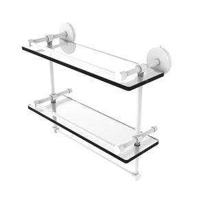 Prestige Skyline Matte White 16-Inch Double Glass Shelf with Towel Bar