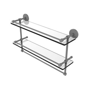 Prestige Skyline Matte Gray 22-Inch Double Glass Shelf with Towel Bar