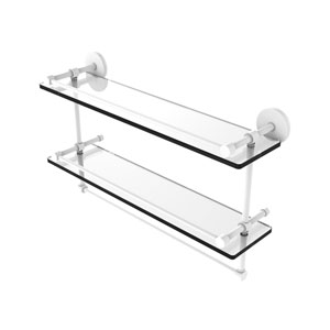 Prestige Skyline Matte White 22-Inch Double Glass Shelf with Towel Bar
