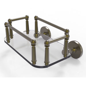 Prestige Skyline Antique Brass Eight-Inch Wall Mounted Glass Guest Towel Tray