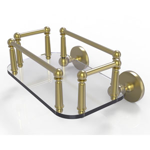 Prestige Skyline Satin Brass Eight-Inch Wall Mounted Glass Guest Towel Tray
