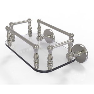 Prestige Skyline Satin Nickel Eight-Inch Wall Mounted Glass Guest Towel Tray