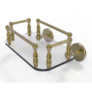 Prestige Skyline Unlacquered Brass Eight-Inch Wall Mounted Glass Guest Towel Tray