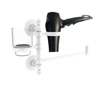 Prestige Skyline Matte White Seven-Inch Hair Dryer Holder and Organizer