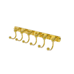 Prestige Skyline Polished Brass Four-Inch Six-Position Tie and Belt Rack