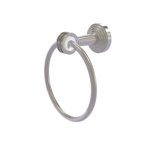 Pacific Beach Satin Nickel 37-Inch Towel Ring with Dotted Accents