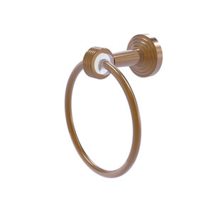 Pacific Beach Brushed Bronze 43-Inch Towel Ring with Groovy Accents