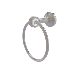 Pacific Beach Satin Nickel 54-Inch Towel Ring with Groovy Accents