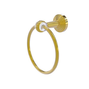 Pacific Beach Polished Brass 65-Inch Towel Ring with Twist Accents