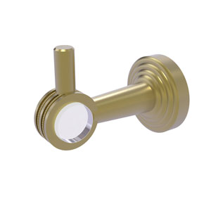 Pacific Beach Satin Brass Three-Inch Robe Hook with Dotted Accents