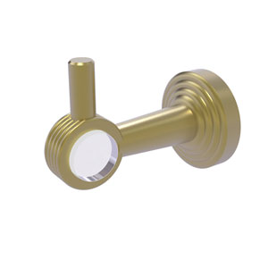 Pacific Beach Satin Brass Three-Inch Robe Hook with Groovy Accents
