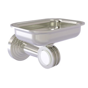 Pacific Beach Satin Nickel Three-Inch Wall Mounted Soap Dish Holder with Dotted Accents