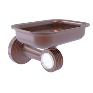 Pacific Beach Antique Copper Three-Inch Wall Mounted Soap Dish Holder with Groovy Accents