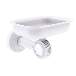 Pacific Beach Matte White Three-Inch Wall Mounted Soap Dish Holder with Groovy Accents
