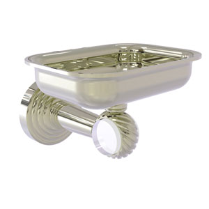 Pacific Beach Polished Nickel Three-Inch Wall Mounted Soap Dish Holder with Twisted Accents