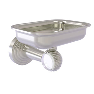 Pacific Beach Satin Nickel Three-Inch Wall Mounted Soap Dish Holder with Twisted Accents