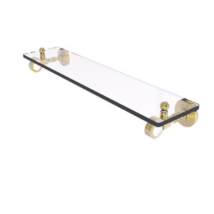 Pacific Grove Unlacquered Brass 16-Inch Glass Shelf