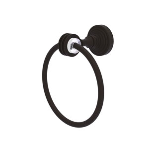 Pacific Grove Oil Rubbed Bronze Seven-Inch Towel Ring with Dotted Accents