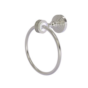 Pacific Grove Satin Nickel Seven-Inch Towel Ring with Dotted Accents