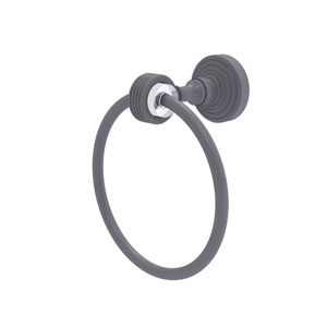 Pacific Grove Matte Gray Seven-Inch Towel Ring with Groovy Accents