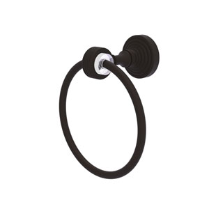 Pacific Grove Oil Rubbed Bronze Seven-Inch Towel Ring with Groovy Accents