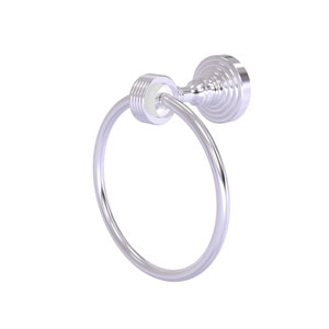 Pacific Grove Satin Chrome Seven-Inch Towel Ring with Groovy Accents