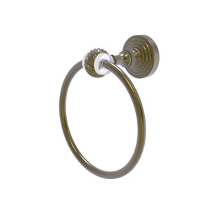 Pacific Grove Antique Brass Seven-Inch Towel Ring with Twist Accents