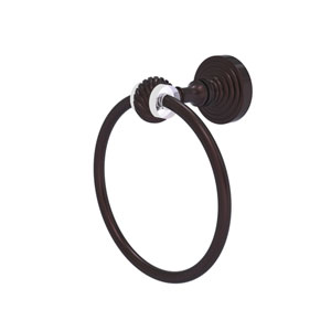 Pacific Grove Antique Bronze Seven-Inch Towel Ring with Twist Accents