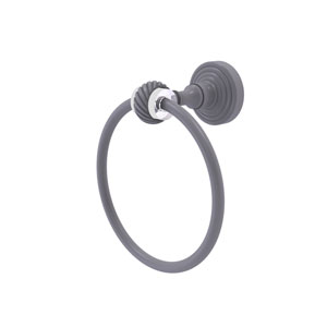 Pacific Grove Matte Gray Seven-Inch Towel Ring with Twist Accents
