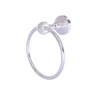 Pacific Grove Satin Chrome Seven-Inch Towel Ring with Twist Accents