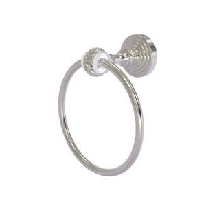 Pacific Grove Satin Nickel Seven-Inch Towel Ring with Twist Accents