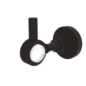 Pacific Grove Oil Rubbed Bronze Three-Inch Robe Hook with Groovy Accents