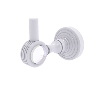 Pacific Grove Matte White Three-Inch Robe Hook with Groovy Accents