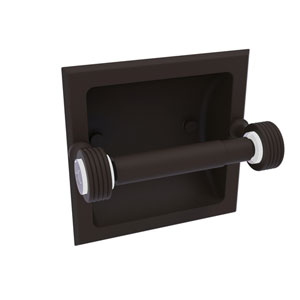 Pacific Grove Oil Rubbed Bronze Six-Inch Recessed Toilet Paper Holder with Groovy Accents
