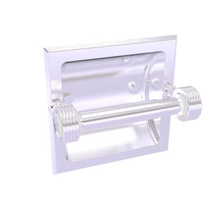 Pacific Grove Satin Chrome Six-Inch Recessed Toilet Paper Holder with Groovy Accents