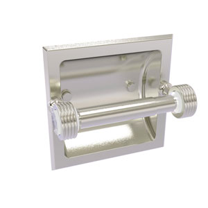 Pacific Grove Satin Nickel Six-Inch Recessed Toilet Paper Holder with Groovy Accents
