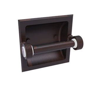 Pacific Grove Venetian Bronze Six-Inch Recessed Toilet Paper Holder with Groovy Accents
