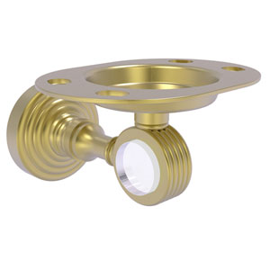 Pacific Grove Satin Brass Three-Inch Tumbler and Toothbrush Holder with Groovy Accents