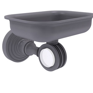 Pacific Grove Matte Gray Three-Inch Wall Mounted Soap Dish Holder with Dotted Accents