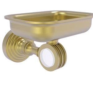 Pacific Grove Satin Brass Three-Inch Wall Mounted Soap Dish Holder with Dotted Accents