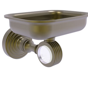 Pacific Grove Antique Brass Three-Inch Wall Mounted Soap Dish Holder with Groovy Accents