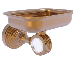 Pacific Grove Brushed Bronze Three-Inch Wall Mounted Soap Dish Holder with Groovy Accents