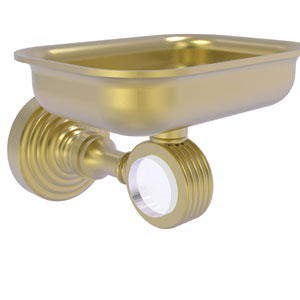 Pacific Grove Satin Brass Three-Inch Wall Mounted Soap Dish Holder with Groovy Accents