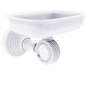 Pacific Grove Matte White Three-Inch Wall Mounted Soap Dish Holder with Groovy Accents