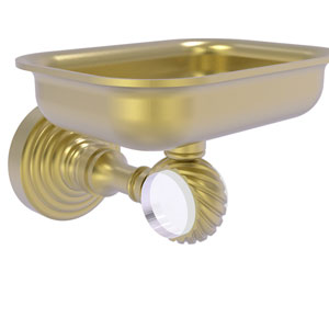 Pacific Grove Satin Brass Three-Inch Wall Mounted Soap Dish Holder with Twisted Accents