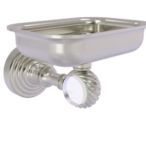 Pacific Grove Satin Nickel Three-Inch Wall Mounted Soap Dish Holder with Twisted Accents
