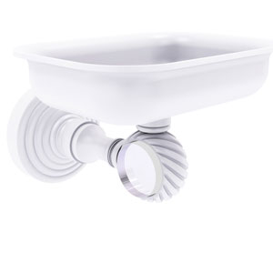 Pacific Grove Matte White Three-Inch Wall Mounted Soap Dish Holder with Twisted Accents