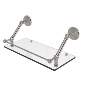 Prestige Monte Carlo Satin Nickel 18-Inch Floating Glass Shelf with Gallery Rail