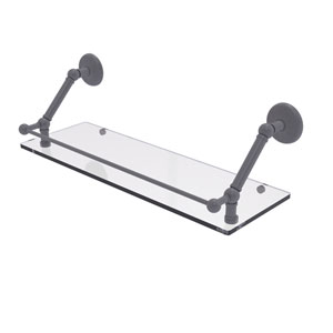 Prestige Monte Carlo Matte Gray 24-Inch Floating Glass Shelf with Gallery Rail